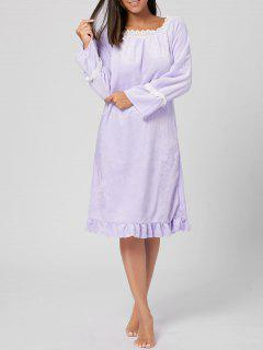 Fuzzy Flounce Winter Loungewear Dress - Light Purple L