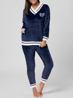 Pijamas De Invierno Con Cuello En V De Fuzzy - Medianoche L