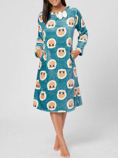 Fuzzy Printed Long Sleeve Pajamas Dress - Bluebell Xl