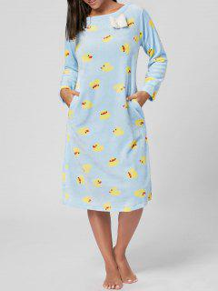Fuzzy Duckling Print Winter Night Dress - Cloudy Xl