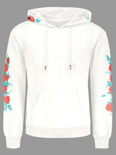 Pullover Floral Print Hoodie - White 2xl