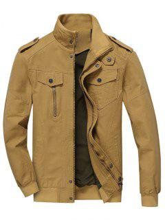 Zip Up Jacket Men Clothes - Khaki M