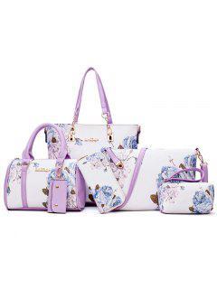 6 Piezas De Impresión Floral Bolsa De Hombro Conjunto - Púrpura