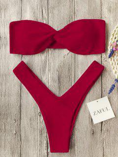 Twist Front Bandeau Thong Bikini - Red M