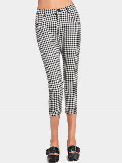 Capri High Waisted Checked Pants - Checked L