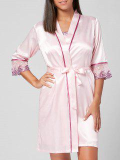 Satin Pyjamas Robe Mit Slip Stickerei Kleid - Pink Xl