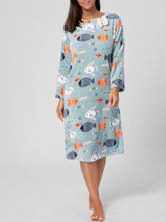Fish Print Winter Fuzzy Loungewear Dress - Clover Xl