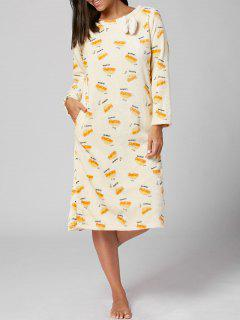 Fuzzy Long Sleeve Winter Printed PJ Dress - Light Yellow Xl