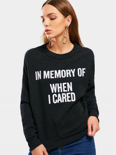 Drop Shoulder Letter Graphic Sweatshirt - Black L