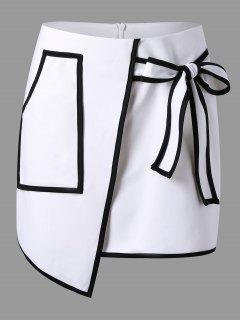 Patch Pocket Overlap Asymmetric Skirt - White L