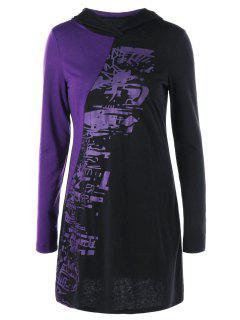 Halloween Two Tone Tunic Hoodie - Black And Purple Xl