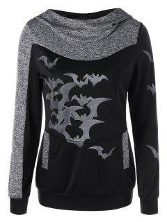 Halloween Bat Print Marled Hoodie - Heather Gray Xl