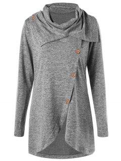 Turtleneck Slit High Low Tunic Sweatshirt - Gray 2xl