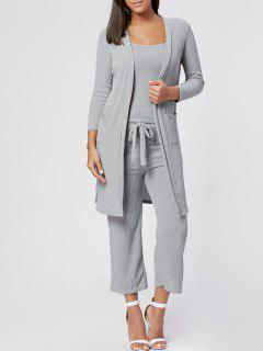 Cami Top Capri Pant And Cardigan Three Piece Knit Suit - Gray Xl