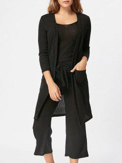 Cami Top Capri Pant And Cardigan Three Piece Knit Suit - Black S