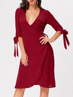 Plunging Neckline Bowknot Midi Wrap Dress - Wine Red Xl