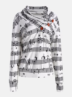 Musical Notes Printed Cowl Neck Sweatshirt - White And Black L
