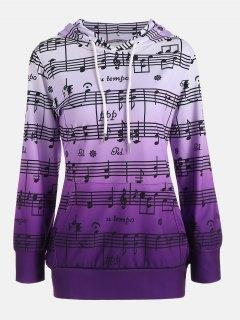 Ombre Musical Notes Print Kangaroo Hoodie - Purple M