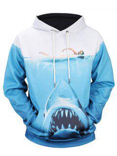 Sweat à Capuche Imprimé Requin 3D Avec Poche Kangourou  - Bleu M