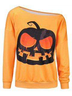 Pumpkin 3D Print One Shoulder Sweatshirt - Orange L