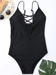 Criss Cross One Piece Swimsuit - Black 2xl