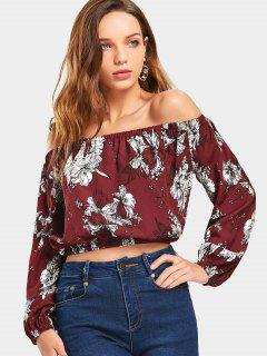 Cropped Floral Off Shoulder Blouse - Wine Red M