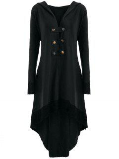 Lace-up Plus Size Hooded High Low Coat - Black 3xl