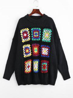 Sheer Oversized Geometric Jacquard Sweater - Black M