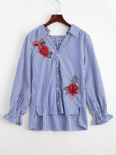 Floral Embroidered High Low Stripes Shirt - Stripe S