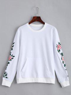 Sweat-shirt à Patch Floral à Poche Devant - Blanc S