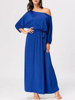 Boat Neck Belted Maxi Dress - Royal 2xl