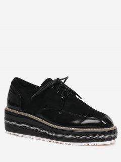 Stitching Zipper Embellishment Wedge Shoes - Black 37