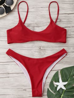 Juego De Bikini De Tanga De Corte Alto - Rojo M