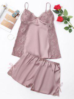 Lace Panel Cami Backless PJ Set - Khaki M