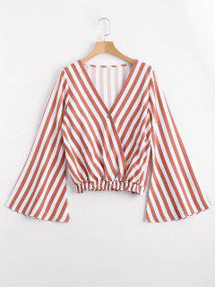 One Button Flare Sleeve Striped Blouse - Stripe L