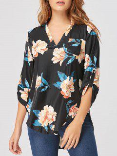 Blusa Floral Con Cuello En V - Negro M