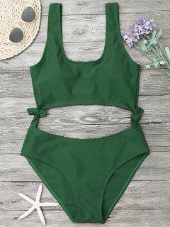 Hohes Bein Ausgeschnitten Schleife Badeanzug - Grün M