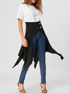 High Waist Front Slit Asymmetrical Skirt - Black Xl