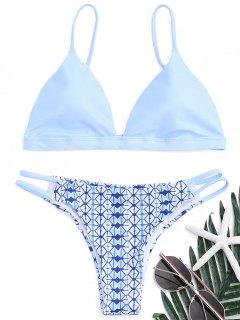 Printed Scrunch Butt Bikini Set - Azure L