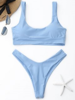 Scooped High Cut Bikini Set - Light Blue M