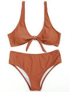 Scoop Verknotet Badeanzug - Ziegelrot L