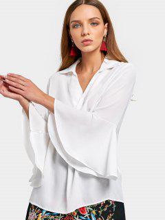 Flare Sleeve Chiffon Shirt - White L