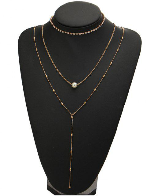 new Rhinestone Faux Pearl Necklace Set - GOLDEN  Mobile