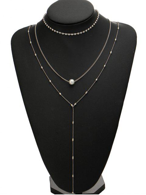 hot Rhinestone Faux Pearl Necklace Set - SILVER  Mobile