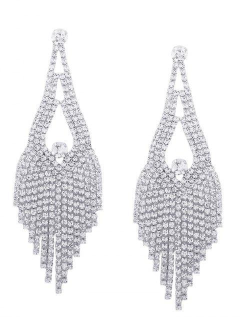Sparkly Rhinestone Chandelier Teardrop Earrings - Argent  Mobile