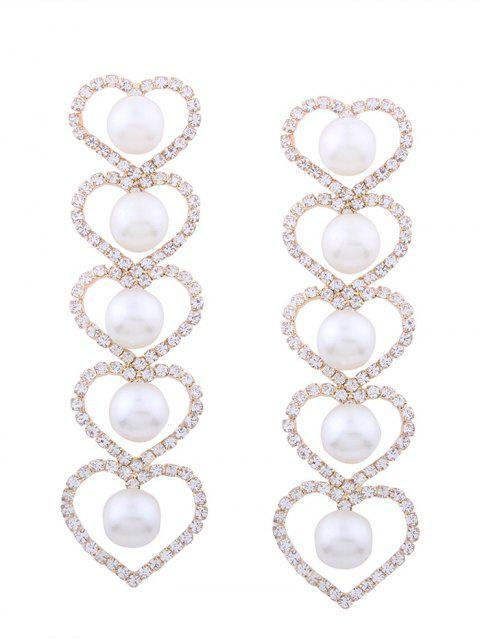 Rhinestone Falsos perlas de corazón partido pendientes - Dorado  Mobile