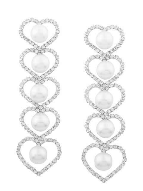 Boucles d'oreilles strass Faux Pearl Heart Party -   Mobile