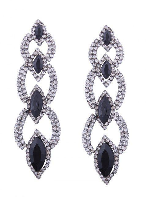Rhinestone Faux Gem Sparkly Party Earrings - Noir  Mobile