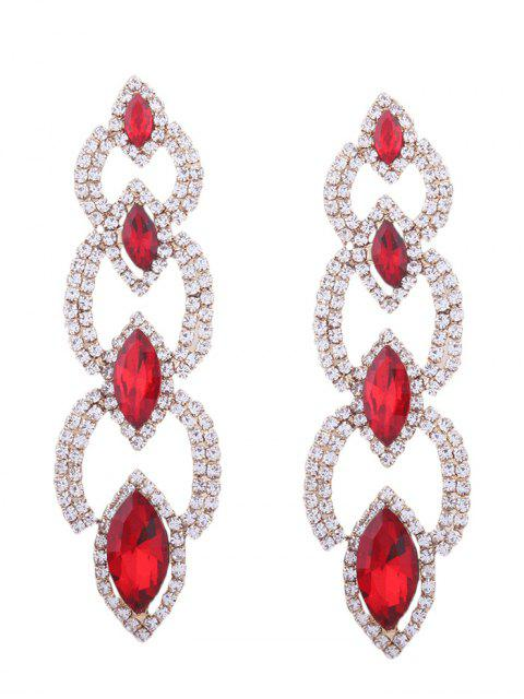 Rhinestone Faux Gem Sparkly Party Earrings - Rouge  Mobile