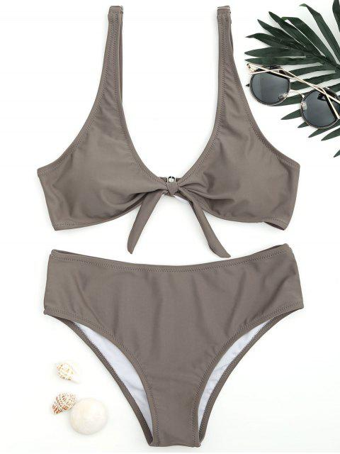 latest Scoop Knotted Bathing Suit - COFFEE S Mobile